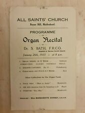 1933 ALL SAINT'S CHURCH ORGAN RECITAL BY DR S BATH FRCO