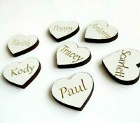 50 x WHITE Personalised Wooden Engraved Hearts Family Tree Scrap