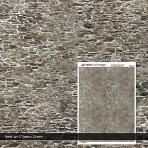 5 x SHEETS OLD STONE WALL BRICK PAPER N GAUGE 1:148 MODEL RAILWAY TX220-N