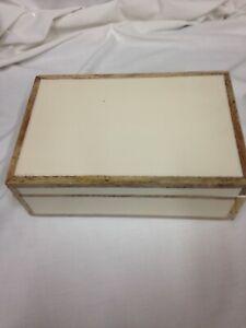 "10"" x 6.5"" Decorative Wood Edge Trim Box with Resin Inlay Ivory - Threshold™ des"