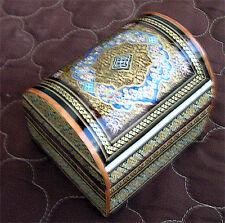 Persian Khatam Yakhchal Decor Jewelry Box Lined Esleemee Treasure Chest YA321
