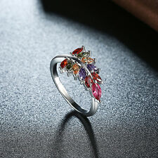 1pc Women Dance Party Wedding Zircon Colourful Leaf Simple Platinum Mosaic Rings 8