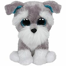 """TY 6"""" WHISKERS SCHNAUZER DOG BEANIE BOOS SOFT TOY 36 MONTHS+ WITH HEART TAG"""
