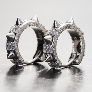 White Gold 925 Sterling Silver Fully Iced Cz Small Spike Huggie Hoop Earrings