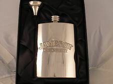 6oz PEWTER HIP FLASK WITH A JAMESON LOGO AND FUNNEL