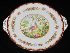 Royal Albert CHELSEA BIRD MAROON Handled Cake Plate