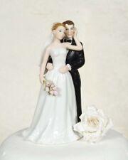 Elegant Rose Couple Porcelain Wedding Cake Topper