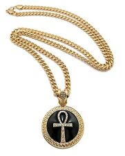 "New Iced Out ANKH CROSS Round Pendant 6mm/36"" Link Chain Hip Hop Necklace XP923"