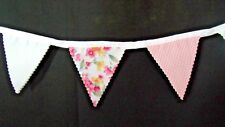 Handmade Fabric Bunting with White, Red Stripe, and Floral Flags. 3 Metres.