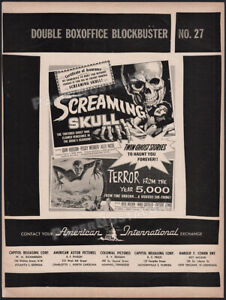The SCREAMING SKULL__Original 1958 Trade AD / ADVERT__Terror from the Year 5000