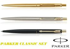 Parker Classic Ball Pen Set of 3 Silver Gold matte Black GT Brand new Gift Box