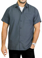 "LA LEELA Rayon Loose Camp Party Men's Shirt Grey Medium | Chest 40"" - 44"""