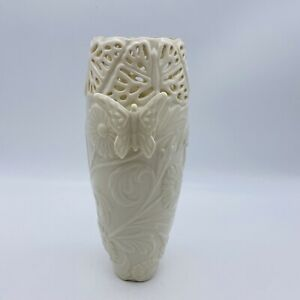 """Lenox Butterflies And Lace Small Bud Vase 8"""" Ivory White with Gold Detail"""