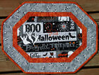 Handcrafted Quilted Table Runner Topper - HALLOWEEN CASPER GHOST BOO EYES CATS