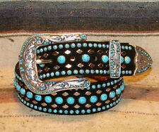 Nocona Studded Bejeweled Black Turquoise Leather Bling Western Belt Size 32 New