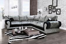 Tango Large Corner Sofa Black And Silver Fabric Luxury Crushed Velvet