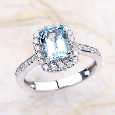 2.03ctw Emerald Cut Aquamarine Halo Engagement Ring in 14K White Gold