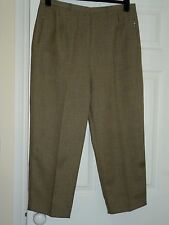Lady's Classics Brown and Beige Herringbone Striped Flat Front Trousers 20