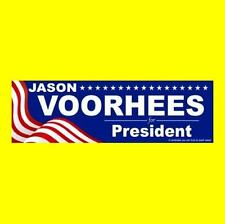 """""""JASON VOORHEES FOR PRESIDENT"""" Friday the 13th BUMPER STICKER, Camp Crystal Lake"""