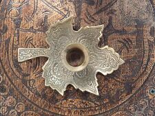 Antique Indian Benares Leaf Shape Engrave Candle Holder Candlestick for Bedroom