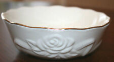 "Lenox Bowl Embossed Rose Blossom Pattern 4 1/2"" Across Gold Trim Mint No Box"