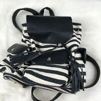 Poverty Flats by Rian Black White City Backpack Bag Purse Canvas NWT