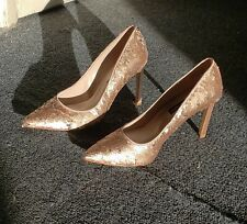 👠New👠 Nine West Rose Gold Silver Sequin Sparkly Stiletto Heels Authentic $90