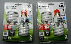 4 (FOUR) Feit 60W Ecobulb Candelabra Base Twist Light Bulbs