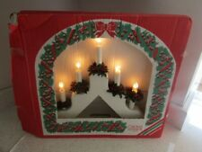 CHRISTMAS BEAUTIFUL CANDLE LIGHTS WOODEN HOLLY ARCH KONST SMIDE SWEDEN QUALITY
