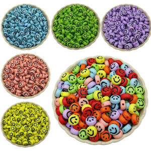 100 Pcs 7mm Smile Smiley Happy Face Acrylic Round Spacer Beads Jewelry Making