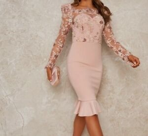 CHI CHI Peplum Embroidered Lace Dress Size UK 8 *REF178