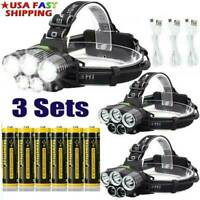 350000LM Headlamp 5X T6 LED Rechargeable Headlight 18650  Flashlight Head Torch