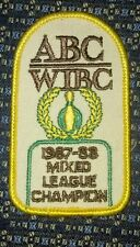ABC WIBC (BOWLING) 1987-88 MIXED LEAGUE CHAMPION Iron or Sew-On Patch