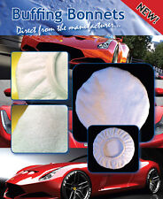 """Microfibre Car Wax Buffing Bonnets - 5 PACK - 8"""" White Premium - For machine use"""