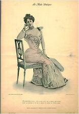 Publicité ancienne la mode pratique toilette de soirée satin No 48 1899