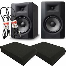 M-Audio BX8 D3 Active Powered Studio Monitors inc Isolation Pads and Pro Cables