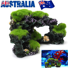 Aquarium Mountain Coral Reef Rock Cave Stone Moss View Fish Tank Ornament Decor