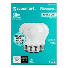Incandescent Light Bulbs 60W Equivalent Soft White Dimmable 4 Pack Indoor Use