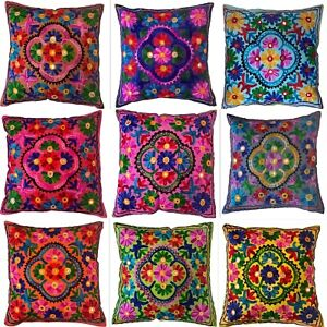 Indian Cushion Covers Suzani Covers Wool Embroidered Mirrors Boho Case 40 cms uk