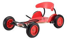 BIKESTAR® Kinder Go-Cart Seifenkiste ab 6 Jahren ★ Natur Holz ★ Rennwagen Rot
