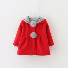 Baby Kids Girl Winter Warm Coat Bunny Ear Fleece Hoodie Outwear Jacket Clothes