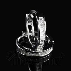 18K White Gold Out Iced Simulated Diamond Emerald Set Huggie Hoop Womens Earring