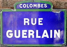 Old French enamel street sign road name plaque Guerlain perfume Colombes Paris