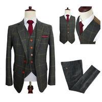 Herren Grün Texturiert 3Pcs Anzüge Besondere Wollmischung Anzüge Hochzeitsanzug