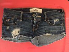 Hollister Blue Denim Jeans Short Mini Shorts Size 0 Waist 24 Distressed, Frayed