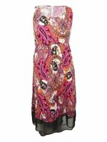 NY Collection Women's Plus Size Printed High-Low Maxi Dress (1X, Fuchsia Grand)