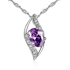 """0.78 CT Created Amethyst Oval Cut Pendant Necklace Sterling Silver w/ 18"""" Chain"""