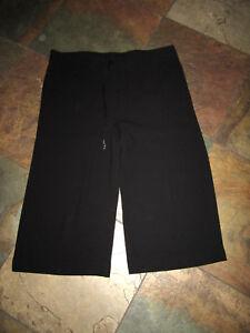 CHICO'S BLACK LABEL 1 (8/10) Black Pull On Loose Fit Wide Leg Crop Slack EUC B