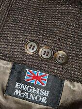 50R Textured Tooth Check Squares Plaid Brown Wool Vent Blazer Jacket Coat Tweedy