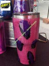 Purple / Pink Leopard Print Tumbler - Bling Tumbler -Made to Order - Personalize